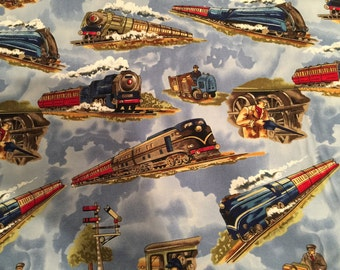 Trains Blue by Michael Miller - Railroad - Quilting Cotton Fabric - by the yard fat quarter half