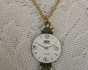 Watch Necklace, Upcycled Necklace, Upcycled Jewelry, Unique Necklace, Repurposed Necklace, Swarovski Crystals, Upcycled Watch Necklace,