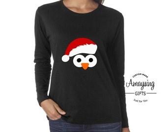 Long Sleeves Shirt - Santa Penguin Long Sleeves Shirt - Penguin Santa - Santa - Penguin - Christmas Shirt - Christmas T Shirt - Christmas
