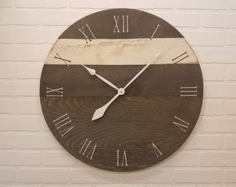 """24"""" Wall Clock - Charcoal Grey with white stripe -  Rustic wall clock made with real wood."""