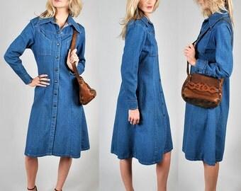 vintage denim button down trench dress                                A3