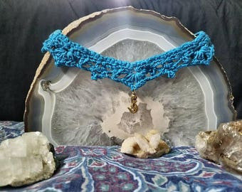 Crocheted mermaid choker necklace for cleaning the ocean~ Donation going to The Ocean Conservancy.
