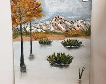 Vintage Painting Mountain Scene Original Artwork