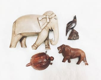 carved wood elephant / vintage wood elephant / elephant decor / hand carved elephant / elephant nursery decor
