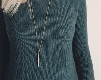 Long Gold Bar Necklace / Dainty Layering Bar Necklace / Vertical Bar Layering Necklace / Bridesmaid/Birthday Gift Idea
