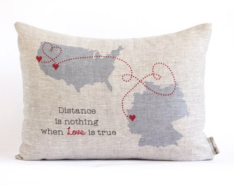 Going Away Gift, Personalized Map Pillow, Long Distance Friends, Long Distance Relationship, Linen Anniversary, Gift for Him, Gift For Her