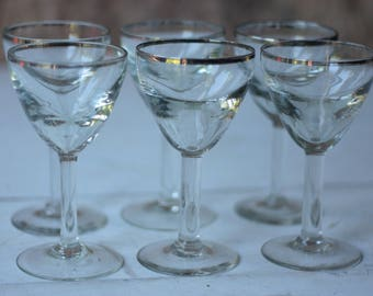 Set of 6 Art Deco Bistro Wine Glasses, with Silver Rims
