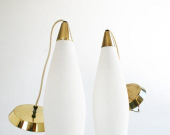 Mid Century Frosted White Glass Brass Pendant Light Fixture Hanging Lamp Pair