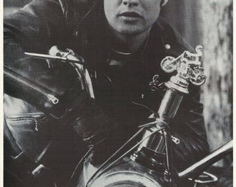 Marlon Brando On Motorcycle Close Up Rare Vintage Poster