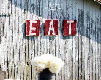 Eat Sign / Custom Sign Letters / Create Your Own / Farmhouse decor / Rustic Letters / Wood Letters / Initial Sign / Rustic Blocks