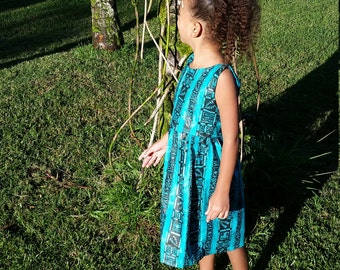 Tribal turquoise girls dress 5t