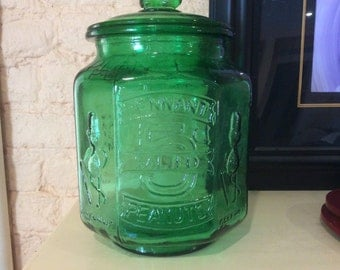 Green Planters Pennant Peanuts Glass Jar with Lid - 5 cents - Salted - Mr. Peanut