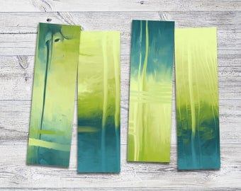 Printable Yellow and Green Bookmark Set, Book Lover's Gift, Abstract Bookmarks, 2.25x7.5, Instant Download