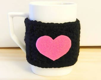 Best gift coffee cup cozy, heart cup cozy, special gift, mug cozy, tea cup cozy, coffee cup cozy, graduation day gift, travel cup cozy, cozy