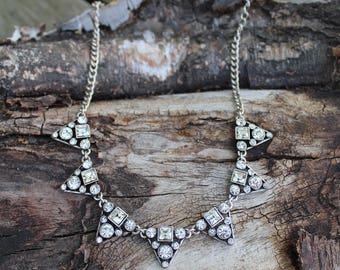 Crystal Statement Necklace - Bridal Necklace - Wedding Necklace - Art Deco
