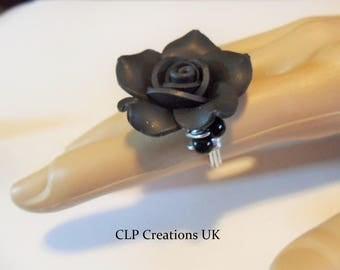 BLACK ROSE RING Rose statement ring, Flower ring, Gothic finger ring, Black floral ring, Wire wrap Alu ring size uk K-1/2  usa 5-1/2  Reff A