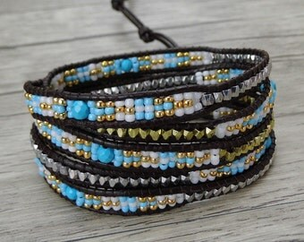 Facted turquoise beads Bracelet Seed beads Wraps Leather Bracelet Boho beads bracelet Bass beads Bracelet Blue turquoise bracelet SL-0384