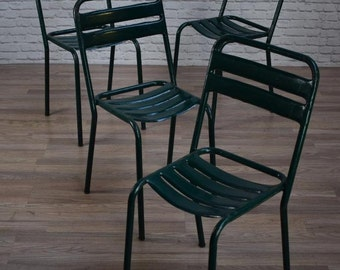 Vintage Industrial French Metal Stacking Garden Cafe Bar Chairs