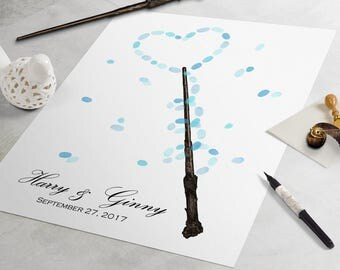 Harry Potter Wedding Guest Book: Magic Wand guestbook, fingerprint guestbook, fingerprint tree, thumbprint tree, nerdy guestbook alternative