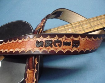 "2 1/2"" Wide SUNBURST LEATHER GUITAR Strap... Mahogany, Chocolate Brown, Tan,Black...Lightweight,Comfortable& Adjustable...Ships in 5-7 Days!"