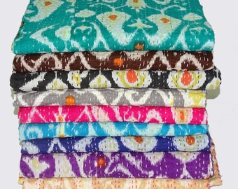 5 Piece Wholesale Lot Kantha Quilt Queen Size Bedsheet Multi Ikat Design Indian Cotton Bedcover Handmade New Kantha Bedspread Assorted Color