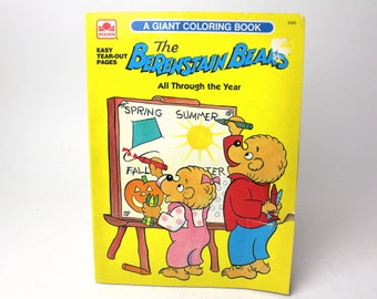 vintage 1991 berenstain bears giant coloring book all through the year golden books - Berenstain Bears Coloring Book