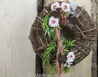 Door wreath apricot Brown Easter