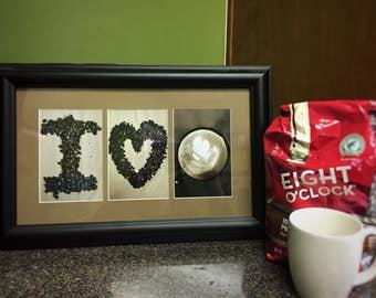I love Coffee Sign, Espresso, Cappuccino, Latte, Mocha, Coffee Letter Art,  Framed letter art, Wall Decor