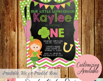 Girls St. Patrick's Day Leprechaun Birthday Party Invitations