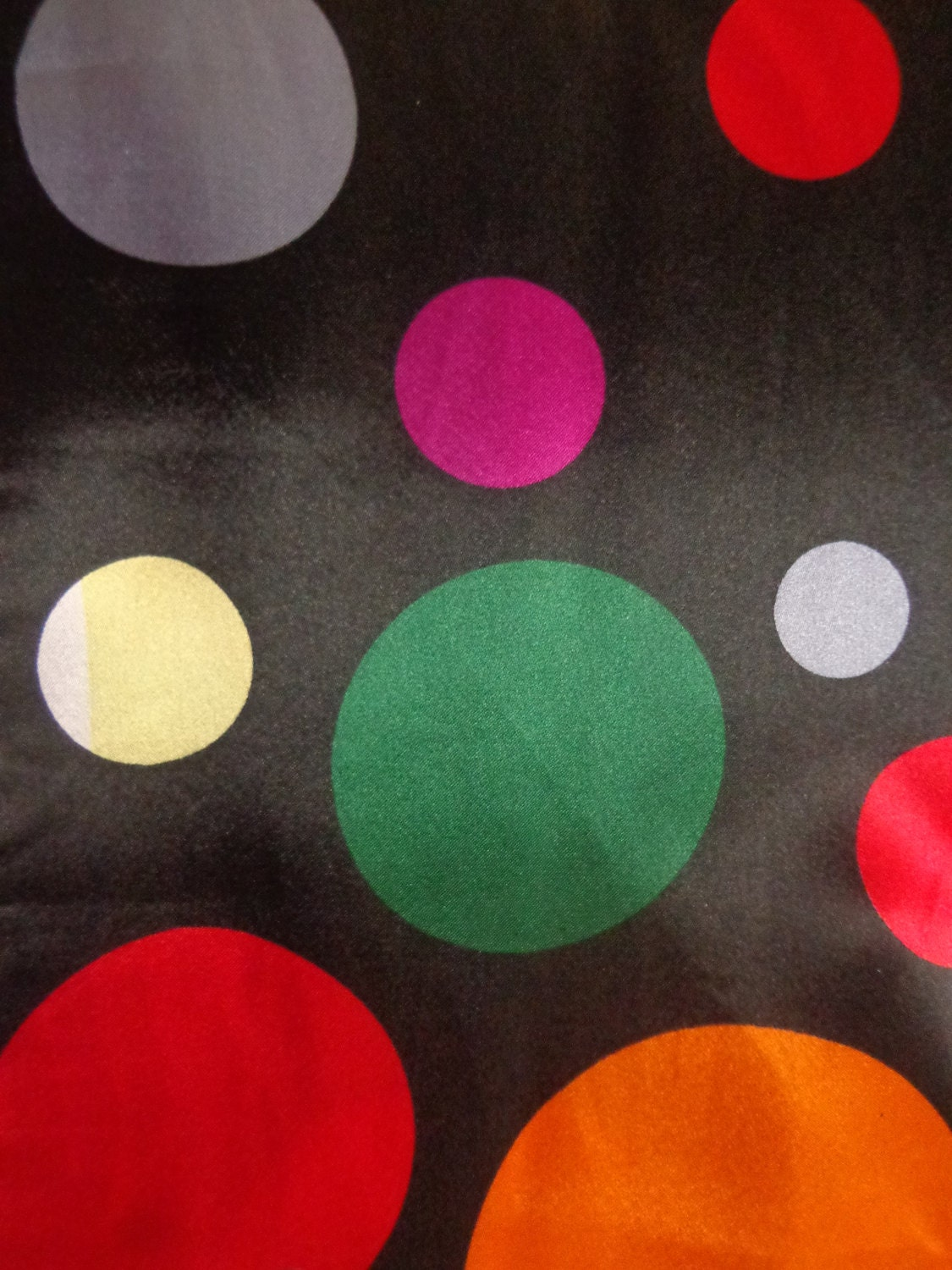 Multi Color 6pcs Honeycomb Handle Design Ombre Makeup: Multi Color Polka Dots On Black Satin Fabric From