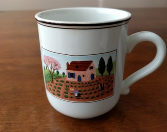 Villeroy & Boch Mug, Design Naif, Farmers, Rooster, Luxembourg, Vitro Porcelaine, Gerard LaPlau, Collectible, Gift