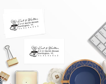 Return Address Stamp, Mr. Mrs. Stamp, season's greeting stamp, Personalized Address Stamp, #04
