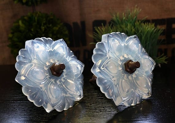 Large Pair of Vintage Style Majestic Glass Curtain Tie Back 2 Piece Set Mother of Pearl