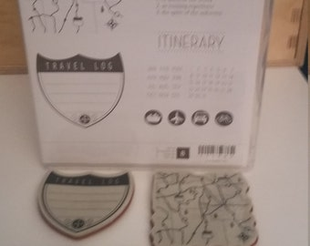Stampin' Up Travel Log clear mount stamp set, gently used