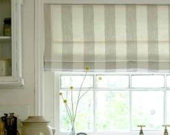 150# Nate Berkus Gray & White Stripe Roman Shade (#2 Best Seller)
