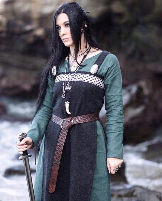 Viking Hangerock Apron Dress Wool, Garb, Serk, Norse, SCA, HEMA, LARP knotwork trim Celtic Slavic Renaissance, Reenactment