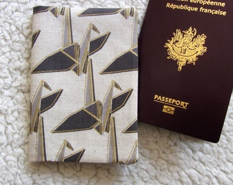 Passport case - protect Passport printed Japanese fabric in grey, Brown and gold origami crane
