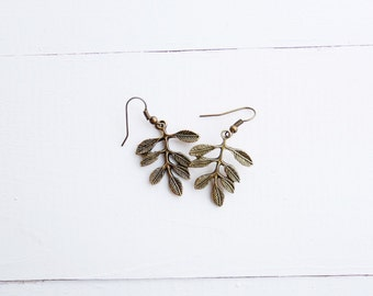 Olive Branch Earrings | Leaf Earrings | Bronze Earrings