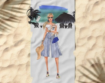 15% off + free shipping with code SAVE15 Towel for beach Beach vacations, fashionable girls, fashion illustration, summer, vacations
