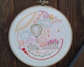 Springtime Embroidery Stitch Sampler Pattern Hoop Art