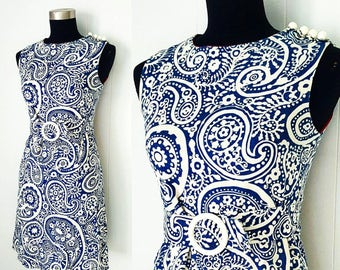 60s Blue and Off White Belted Shift Dress with Paisley Print by Craely