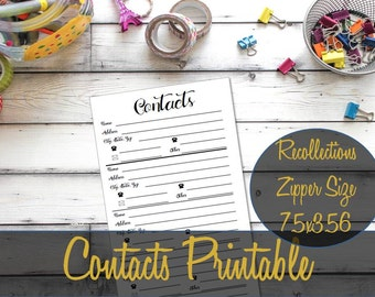 Contacts Recollections Zippered Planner Insert, Contacts Inserts, Address Insert, Recollections Inserts, Michael's Refill - INSTANT Download