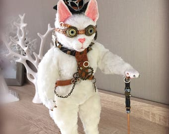 Steampunk Cat. White robot animal with cane. Stuffed toy. Clay fur doll.