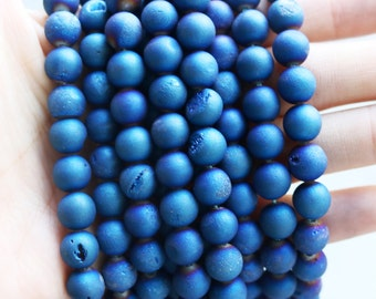 8mm Blue Druzy Agate Rounds, USA Supplier, Druzy Agate, Druzy Agate Strand, Unique Beads, Geode Agate, Gemstone Beads, 8mm Round Beads GS013