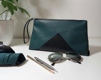 "Italian Leather Clutch for her with wrist strap. Gift for Women. 10,5""x6""x1,7"""