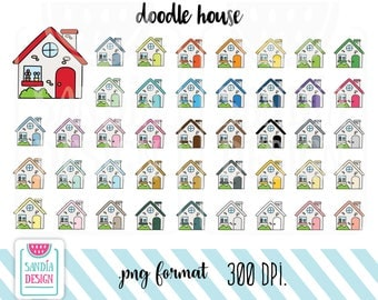 43 Doodle House Clipart. Personal and comercial use.
