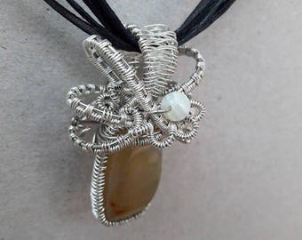 Handmade Wire Wrapped Stone Pendant