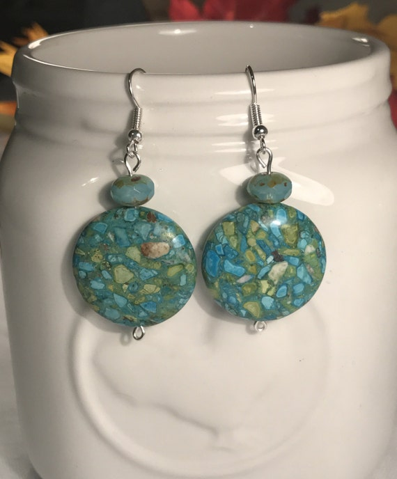 Green and blue mosaic bead dangle/drop earrings w/czech glass beads