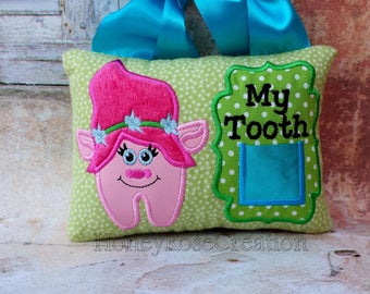 Troll tooth fairy pillow.Poppy troll tooth fairy pillow.Pink troll.