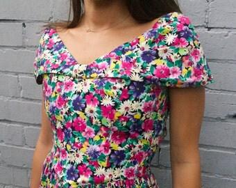 Incredible vintage 1980's does 1950's vibrant floral multicolour rainbow prom dress petite size 2-4
